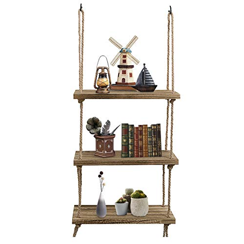Oyeye Wall Hanging Shelf, 3 Tier Distressed Wood Swing Storage Shelves Jute Rope Organizer Rack, Rustic Home Wall Decor -
