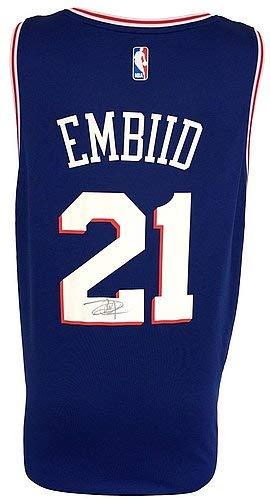39714bab7b9 Joel Embiid Signed Autographed Twice 76Ers Blue Nike Replica Lg Jersey  Fanatics - Certified Certified