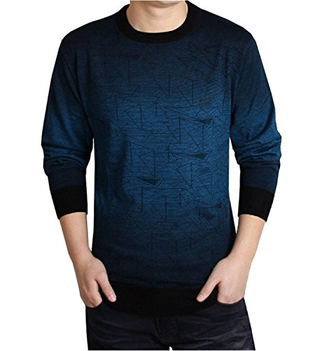 NeeKer Jacket Spring Dress Knitted Sweater Men Casual Knit Shirt Cashmere Pullover O-Neck 638 Blue S