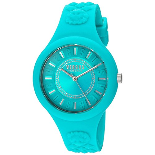 Versus by Versace Women's 'FIRE ISLAND' Quartz Rubber and Silicone Casual Watch, Color:Green (Model: SOQ070016)