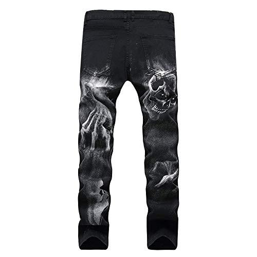 Moda Stil3 Modello Casual Nero Stampa Nuovo Abbigliamento Fit Unico Uomo Gamba R Dritta Attraenti Con Slim Diretta 2018 Design Jeans Mens qFCREqw