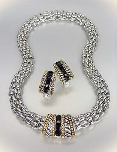 Barrel Hoop Earring Set - Designer Style Silver Cable Gold Black Onyx Cz Crystals Barrel Mesh Necklace Set For Women