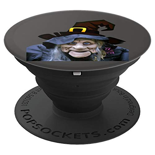 Scary Witch Halloween Design On Gray Background - PopSockets Grip and Stand for Phones and Tablets