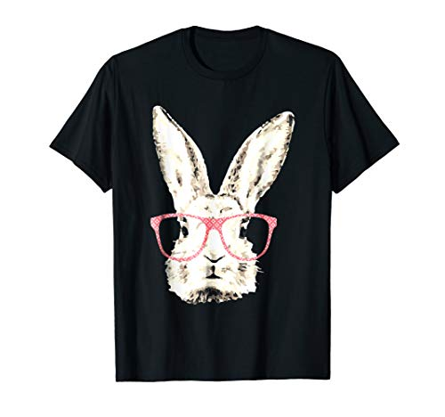 (Cute Bunny Rabbit Pink Glasses Funny Hipster Gift T-Shirt)