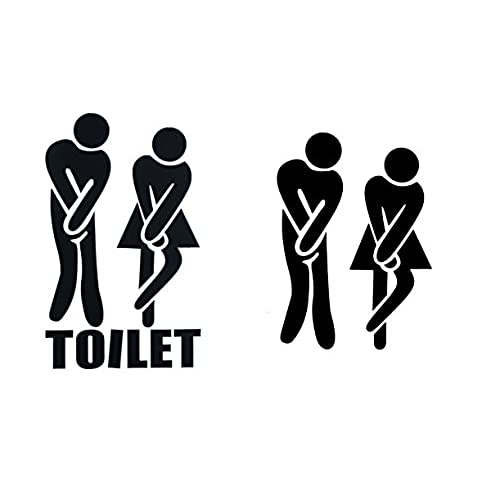 SMYLLS Funny Toilet Stickers Toilet Entrance Sign Decal Vinyl Sticker For  Shop Office Home Cafe Hotel (2 Pairs, Black)