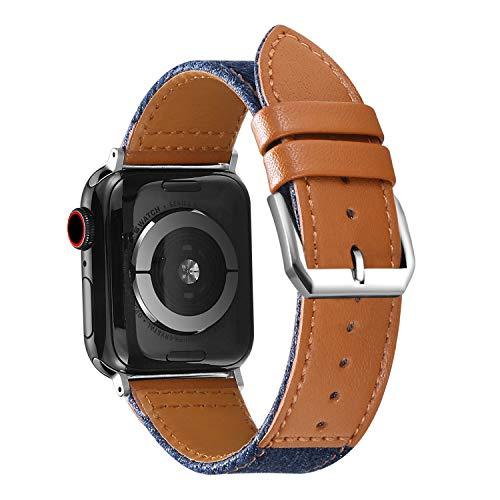 - Henoda Compatible Apple Watch Bands 42mm/44mm Genuine Leather with Canvas Fabric Band Strap Replacement for iWatch Series 4 44mm Series 3/2/1 42mm Sport Edition, Brown