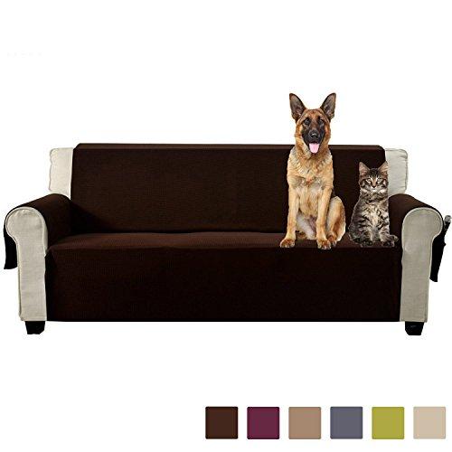 Aidear Anti-Slip Sofa Slipcovers Jacquard Fabric Pet Dog Couch Covers Protectors (Loveseat, Dark (Dark Brown Leather Loveseat)