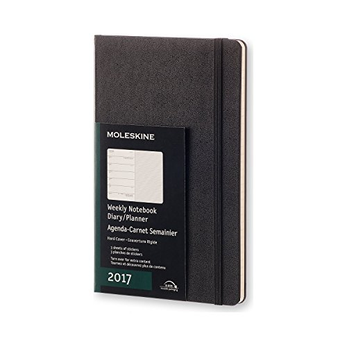 Moleskine 2017 Weekly Notebook, 12M, Large, Black, Hard Cover (5 x 8.25)