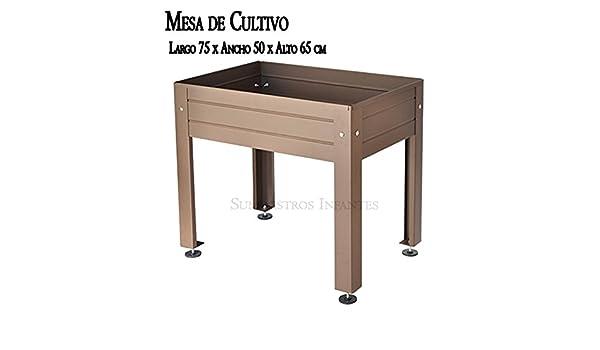 MESA DE CULTIVO Lacada marrón. Medidas: Largo 75cm x Ancho 50cm x ...