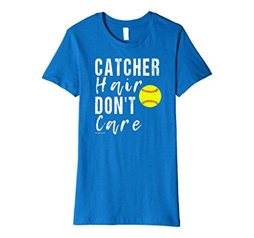 Womens Funny Girls Softball Gift Catcher Hair Don't Care T Shirt Medium Royal Blue