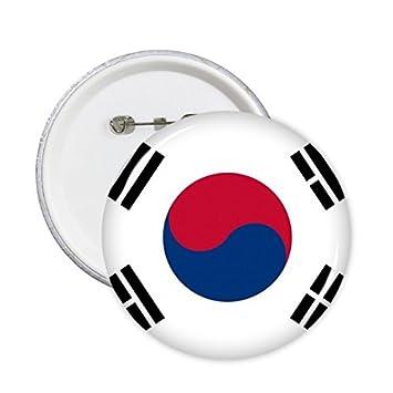 DIYthinker Corea del Sur la bandera nacional del símbolo del país asiático Marca Modelo redondo Insignia del Pin 5 x Botón L: Amazon.es: Oficina y papelería