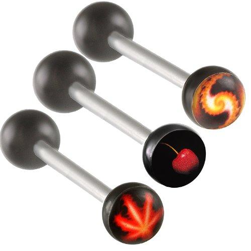 3Pcs 14g 14 gauge 1.6mm 18mm steel tongue rings straight barbell ball piercing bars tounge Log BABW