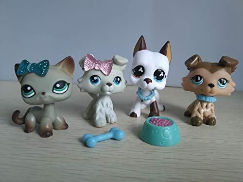 White Shorthair Cat - LPSBEST LPS Great Dane 577 White and Brown LPS Collie 363 893 Grey Brown Dog Puppy LPS Shorthair Cat 391 Grey Kitty with Magent with Accessories Lot Action Figure Kids Boys Girls Xmas Gift