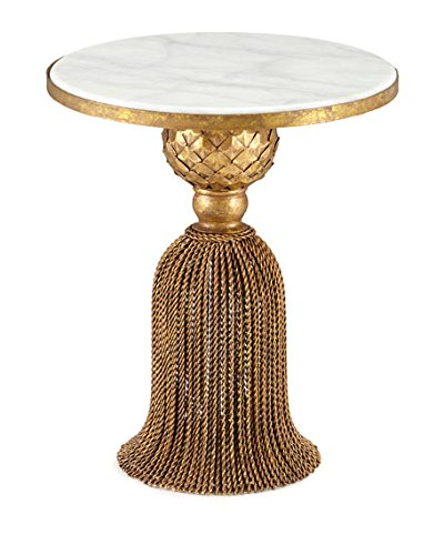 MY SWANKY HOME Wrought Iron Antique Style Gold Tassel Table | White Marble Top