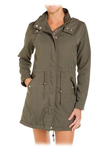 Femme Parka Longue Green Jeans Manche Pour Normale 765 Unie 482 Couleur Carrera Taille Military OaIqwx5nv