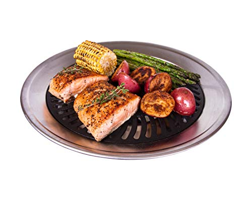 Kitchen + Home Stove Top Smokeless Grill Indoor BBQ, Stainless Steel with Double Coated Non Stick Surface