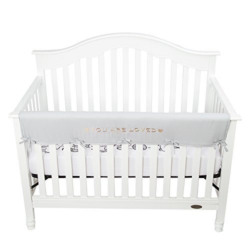(TILLYOU Personalized Padded Baby Crib Rail Cover Protector Safe Teething Guard Wrap for Long Front Rails 100% Silky Soft Microfiber Polyester - Embroidered and Reversible - Pale Gray, You are Loved)