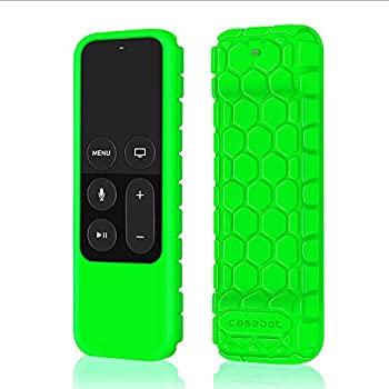 Fintie Protective Case for Apple TV 4K 5th, 4th Gen Remote - Casebot (Honey Comb Series) Lightweight (Anti Slip) Shock Proof Silicone Cover for Apple TV Siri Remote Controller, Green