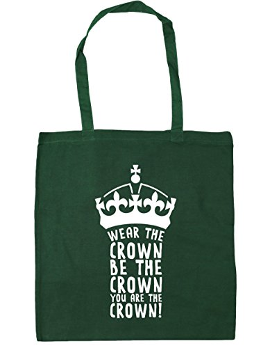 HippoWarehouse llevar la corona se la corona You son la corona Tote Compras Bolsa de playa 42cm x38cm, 10litros verde oscuro