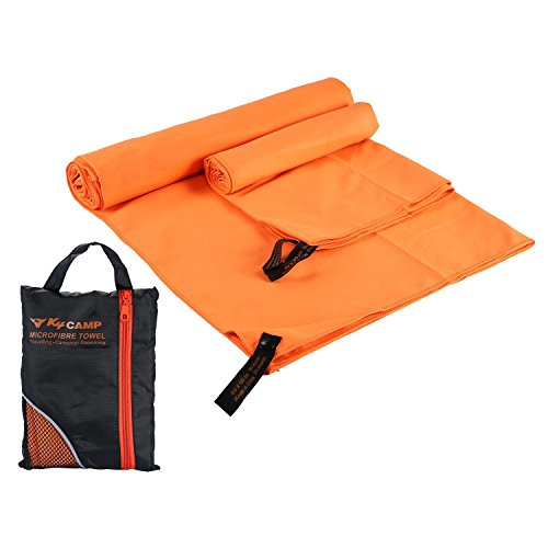 Pawaca Microfibre Quick Dry Absorbent Towel,Gym Travel Towel for Swimming (130x80cm) & Hand Towel (80x40cm) with Portable Individual Bag, Super Absorbent, Compact, Lightweight-2 Pack by Pawaca