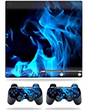 MightySkins Skin Compatible with Sony Playstation 3 PS3 Slim Skins + 2 Controller Skins Sticker Blue Flames