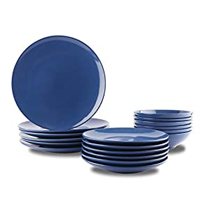 Amazon Basics 18-Piece Stoneware Dinnerware Set – Royal Blue, Service for 6