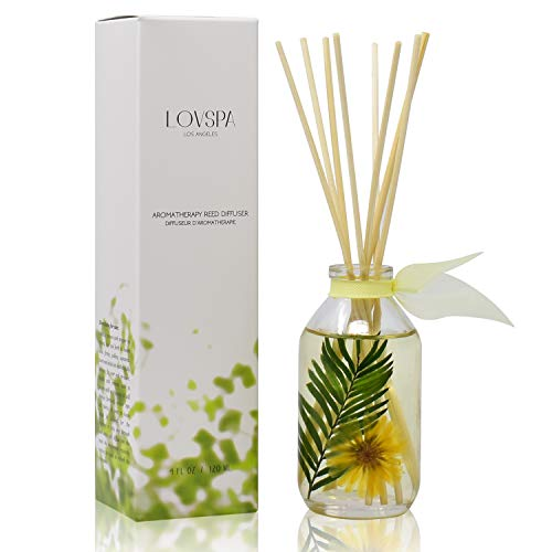 (LOVSPA Pineapple Palm Reed Diffuser & Scent Sticks Gift Set | Green Palm Leaves & Tropical Pineapple | Natural Essential Oils | Made in The)