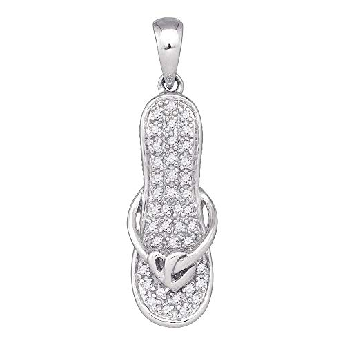 FB Jewels 10k White Gold Round Diamond Sandal Flip Flop Womens Pendant Gold 1/8 Cttw (I2-I3 clarity; H-I color)