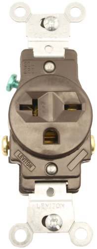 2-Pole Commercial Grade Single Receptacle, Straight Blade, Brown, Nema 6-20R, 250 Volts, 20 Amps
