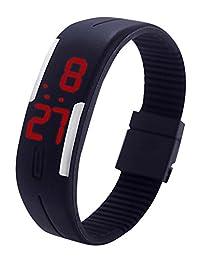 Gracefulvara Kids Boy's Girl's Young Fashion Thin LED Rubber Bracelet Digital Wrist Watch Black