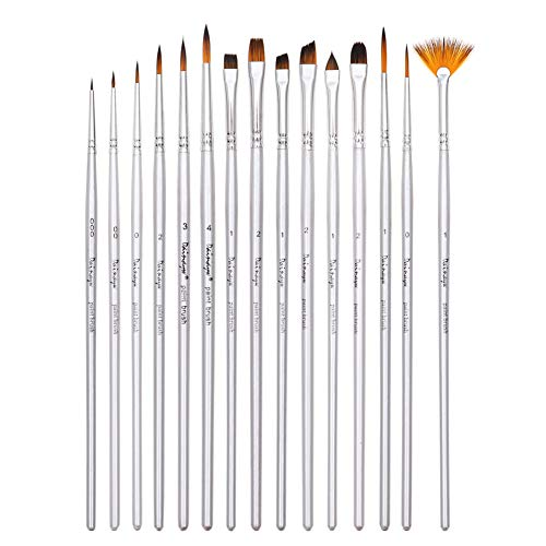 - Art Detail Paint Brushes Set, 15-Piece Fine Paintbrushes for Acrylic Oil Watercolor, Model Painting, Artist Face and Body Professional Painting Kits