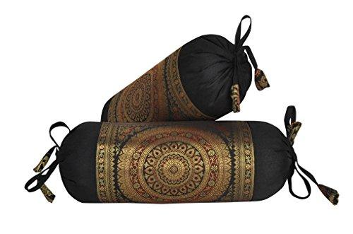 - Lalhaveli Mandala Design Silk Bolster Pillow Cushion Covers 18 x 8 Inch Set of 2 Pcs