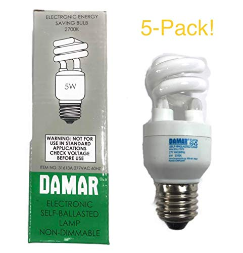 77VAC 60HZ Electronic Self-Ballasted Lamp CFL Lightbulb Non-Dimmable Fluorescent Bulb 2700K (5-Pack) (Electronic Self Ballasted)