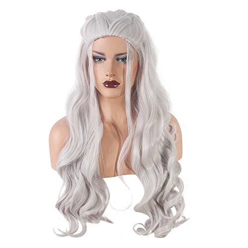 Custome Wigs (Cosplay Wigs for Game of Thrones Daenerys Targaryen khaleesi Long Halloween Customes Wavy Curly Hair Wig (Silver Gray))