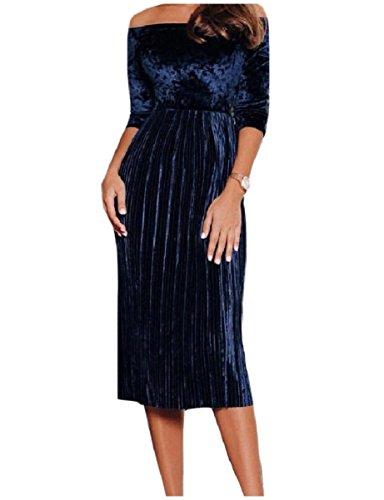 Coolred-femmes Accordéon Plissé De L'épaule Bleu Marine Robe De Velours À Taille Haute