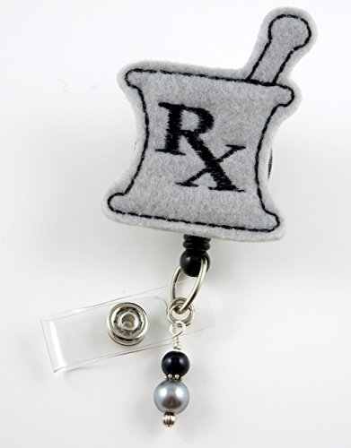 RX Pharmacy - Nurse Badge Reel - Retractable ID Badge Holder - Nurse Badge - Badge Clip - Badge Reels - Pediatric - RN - Name Badge Holder