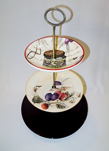 Three Tier Stand, Cake Plate, Tray, Mismatched Plates, Cupcake Stand, Dessert, Appetizer, Tidbit, Vintage, Tuscan, Country, Italian (Cupcake Italian Charm)