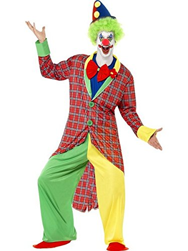 Smiffy's Men's La Circus Deluxe Clown Costume, Jacket, pants, Mock Shirt Bow Tie and Shoe Covers, Funny Side, Serious Fun, Size XL, (Deluxe Circus Clown Costumes)