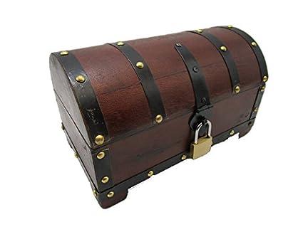 Cofre del tesoro, caja de madera, baúl con candado, caja de