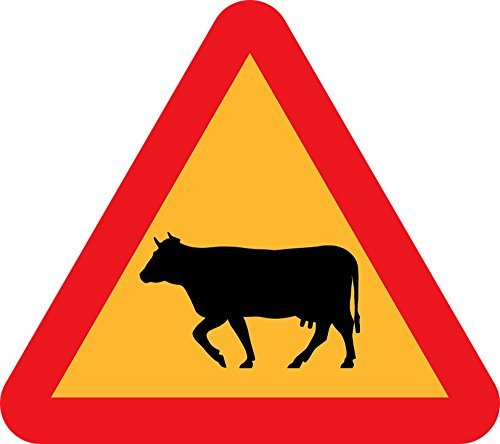 Gifts Delight LAMINATED 27x24 inches Poster: Cattle Crossing Roadsign Road Sign Caution Sign Traffic Sign Highway Sign (Crossing Highway Sign Posters)