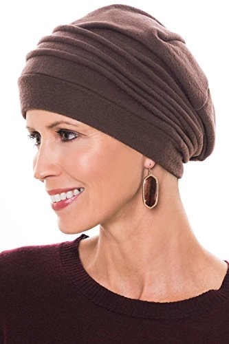 Fleece Chamois Slouchy Cap: Snood Head Covering for Women - Cancer, Chemo Hat Brown Micro Fleece