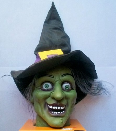 Spooky Ghoulish Talking Witch Head w/ Lighted LED Eyes & Halloween Sound