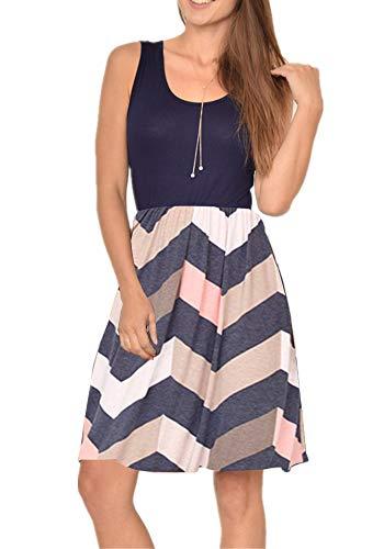 - Poulax Women Casual Sleeveless Striped Print Swing Mini T Shirt Tank Dress with Pockets (XL, 00 Pink)