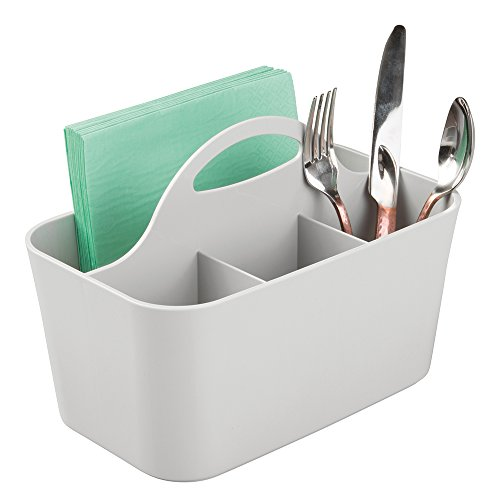 mDesign Silverware, Flatware Caddy Organizer for Kitchen Countertop Storage, Dining Table - Light Gray