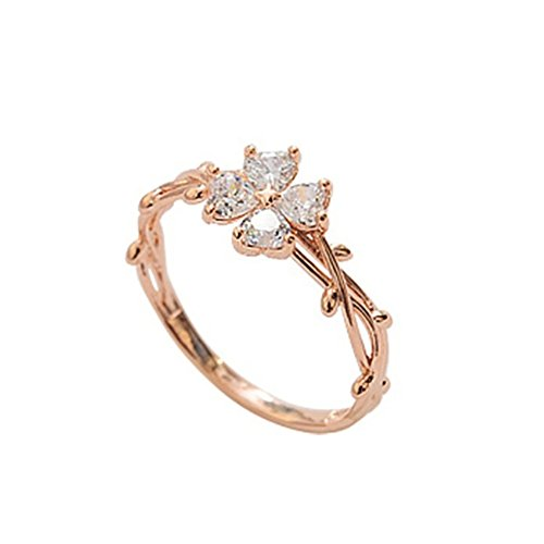 (Wintefei Women Fashion Ring Vine Twine Inlaid Zircon Flower Shiny Party Jewelry Gift - Rose Gold US 9)