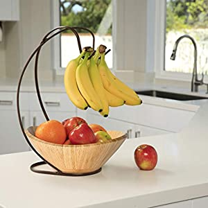 Seville Classics Bamboo Fruit Bowl with Banana Hook Steel Wire Tree Storage Basket, 13″ L x 11″ W, Espresso Brown