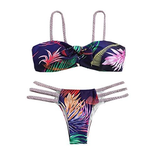 LONGDAY Two Piece Swimsuit Tube Top Bikini Push Up Floral Print Vintage Swimwear Strap Swim Bottom Low Waist Beachwear Purple