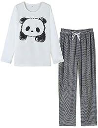 Women Pajamas Cute Sleepwear With Panda Pattern Long-Sleeved Loungewear