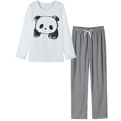 VENTELAN Women's Cute Panda Striped Long Sleeve Autumn Pajama Set Nighty, Medium, White/Black