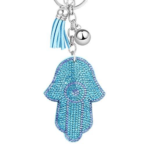 Hamsa Hand Keychain for Women Men Evil Eye Beads Keyring Judaism Gift Israel Luck Charm Pendant (Light blue)